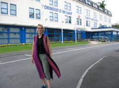 Arrival at Summer School wearing my 'Surround Sound' vest