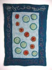 "In the Garden 29"" x 39"" felted wool fiber, silk fabric, wool yarn"